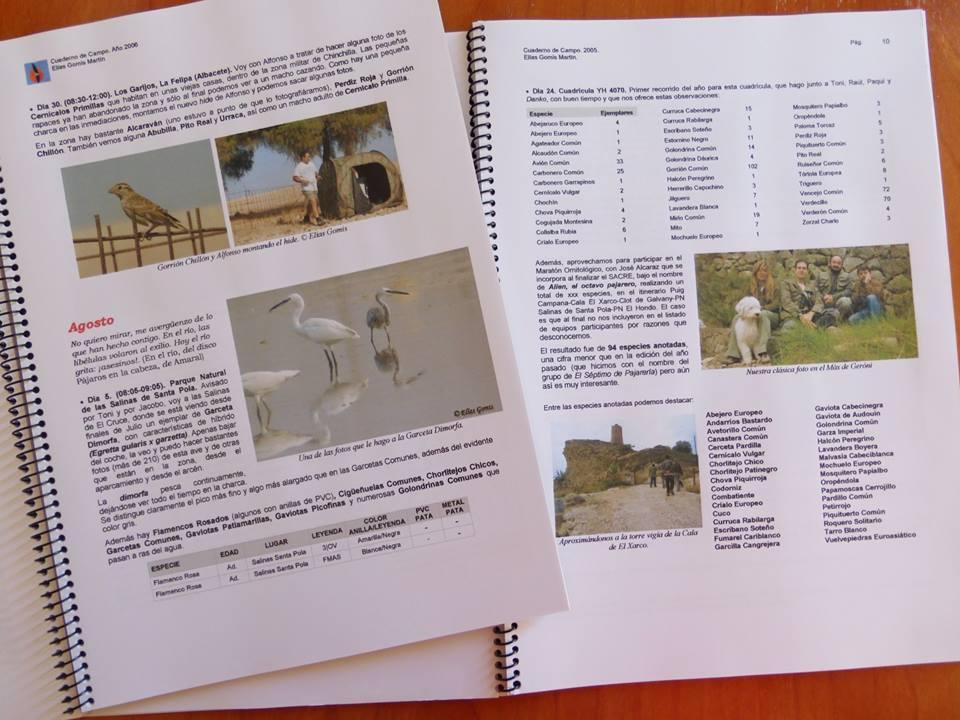 Cuaderno de campo digitalizado e impreso. ((c) Elías Gomis)