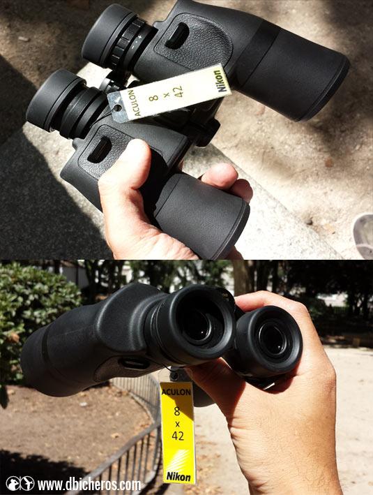 Nikon Aculon 8x42 en mano